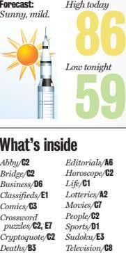 Forecast: High today Sunny, mild. 86 Low tonight 59 What's inside Abby/C2 Editorials/A6 Bridge/C2 Horoscope/C2