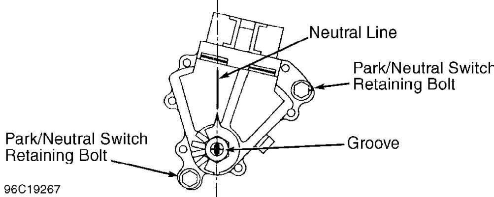 vehicle only starts with gearshift in Park or Neutral. NOTE: Fig. 11: Adjusting Park/Neutral Switch (Typical)