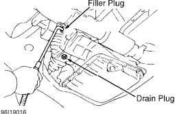 Camry 3.0L V6) Courtesy of Toyota Motor Sales, U.S.A., Inc. Fig. 2: Identifying Transmission/Differential Drain &