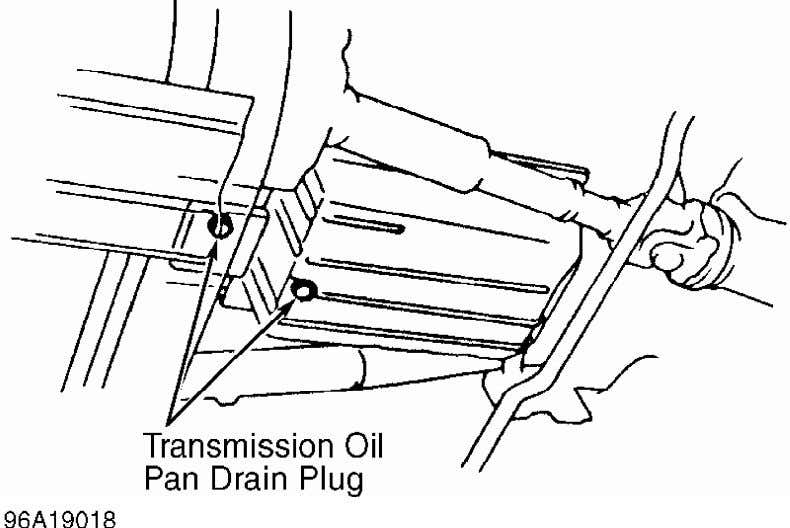 and recheck. See CHECKING FLUID LEVEL under LUBRICATION. Fig. 4: Identifying Transmission Oil Pan Drain Plugs