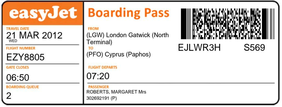 21 MAR 2012 WED (LGW) London Gatwick (North Terminal) EJLWR3H S569 (PFO) Cyprus (Paphos) EZY8805