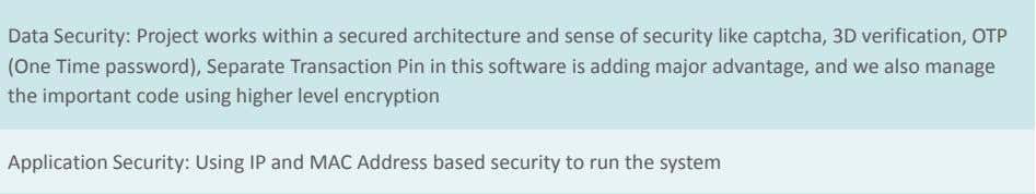 52 Application Security: Using IP and MAC Address based security to run the system Easy TDS