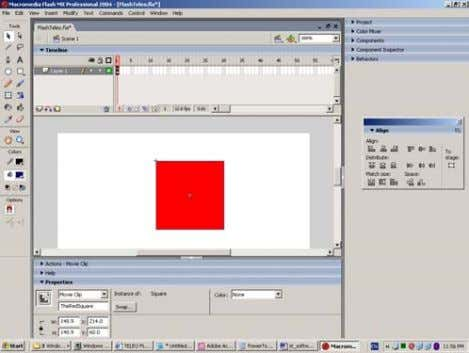 a movie clip in the Flash IDE, called TheRedSquare: Sensors Technology – Software utilization of a