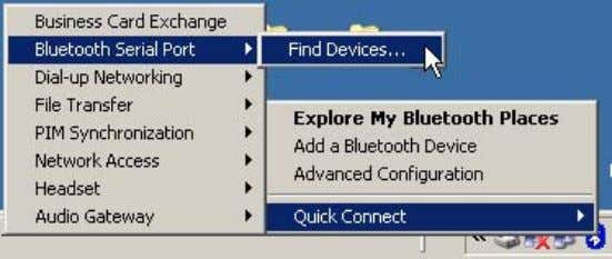 on Quick Connect, Bluetooth Serial Port, and Find Devices… Sensors Technology – Software utilization of a