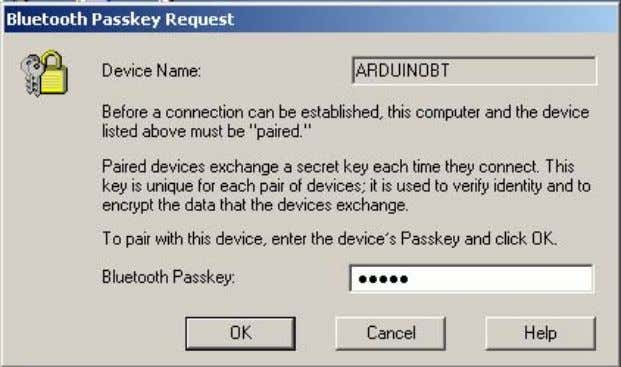 the baloon and then you obtain the Bluetooth Passkey window: In this window, enter 12345 as