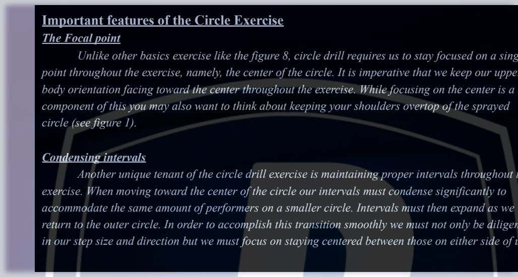Important features of the Circle Exercise