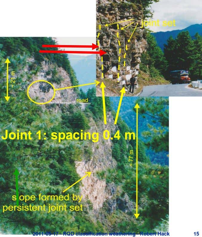 Joint 1: spacing 0.4 m 2011-05-17 - RQD classification weathering - Robert Hack 15
