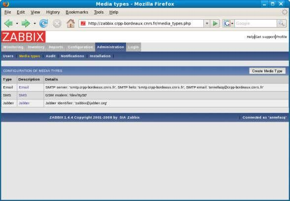 utilisateurs de zabbix Media Types Audit Notifications Installation Supervision avec Zabbix – 17/04/2008 – RAISIN 14
