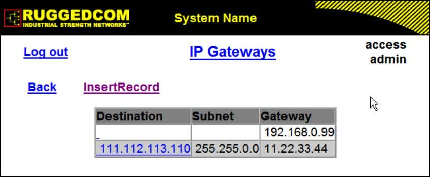 as blank space), the gateway is a default gateway. Figure 1.10. IP Gateways Form Destination Synopsis: