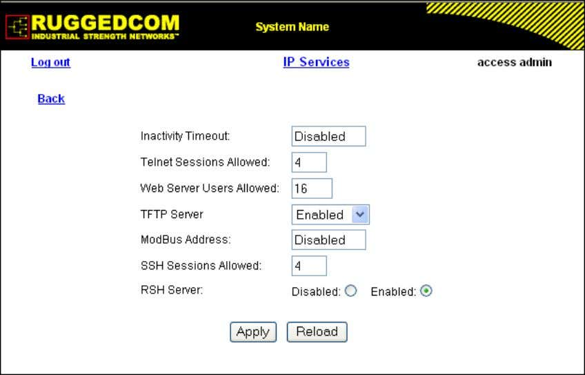 configure properties for IP services provided by the device. Figure 1.11. IP Services Form Inactivity Timeout