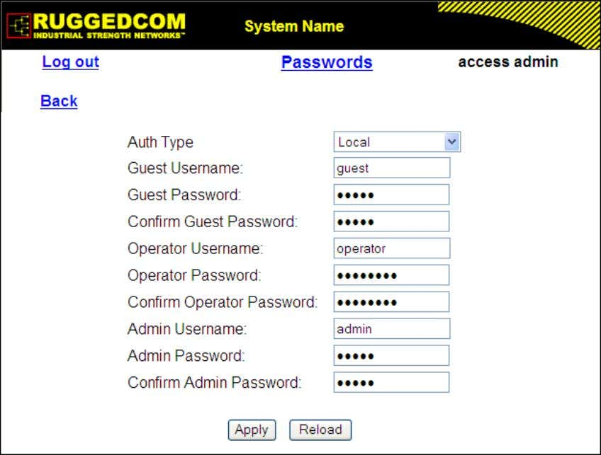 admin user can change all the settings and run commands. Figure 1.13. Passwords Form Auth Type