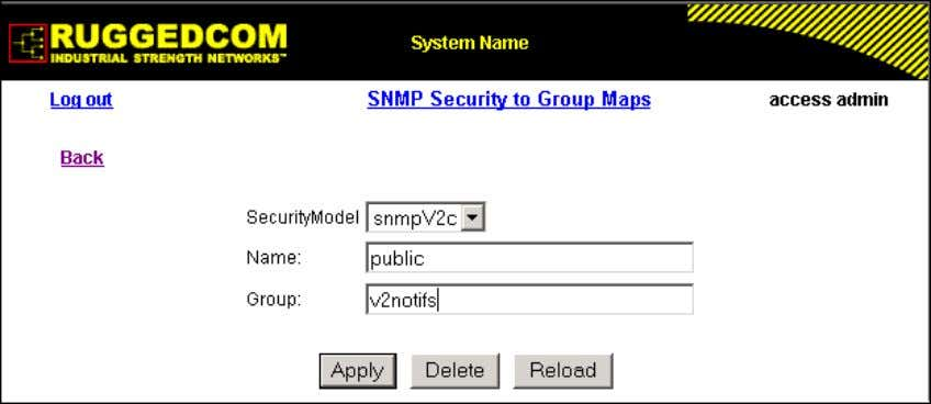 configured. Figure 1.21. SNMP Security to Group Maps Table Figure 1.22. SNMP Security to Group Maps
