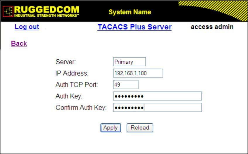 Server Configuration Figure 1.27. TACACS+ Server Summary Figure 1.28. TACACS+ Server Form Server Synopsis: Any 8