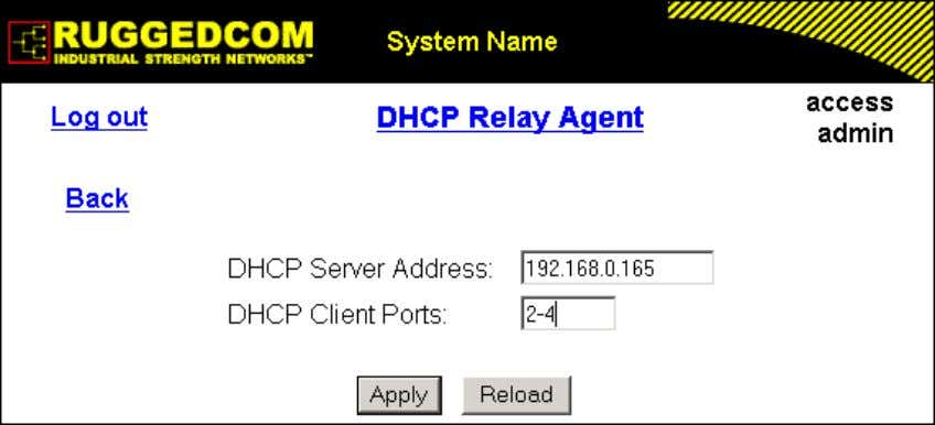 1. Administration Figure 1.29. DHCP Relay Agent Form DHCP Server Address Synopsis: ###.###.###.### where ### ranges