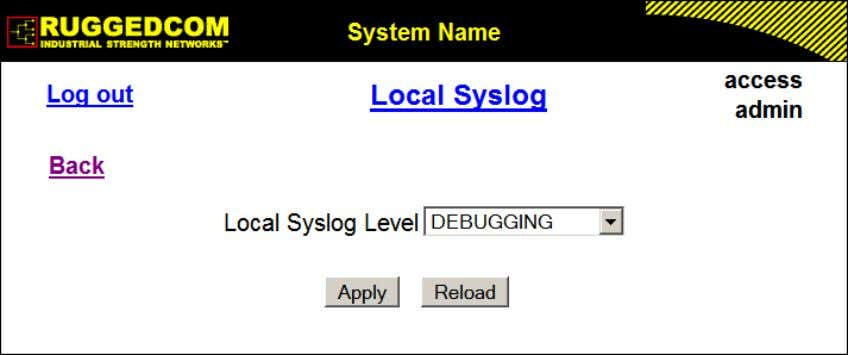 level are written to the syslog.txt file in the unit. Figure 1.30. Local Syslog Form Local
