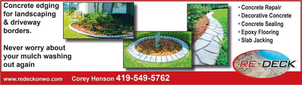 Concrete edging for landscaping & driveway borders. • Concrete Repair • Decorative Concrete • Concrete