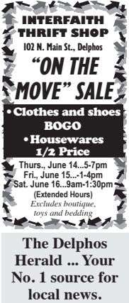 "INTERFAITH THRIFT SHOP 102 N. Main St., Delphos ""ON THE MOVE"" SALE •Clothes and shoes"