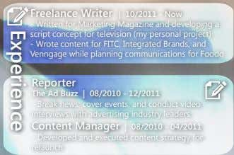 Freelance Writer | 10/2011 - Now - Written for Marketing Magazine and developing a script