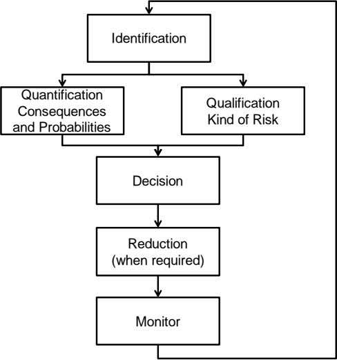 Monitor Decision Identification (when required) Reduction and Probabilities Consequences Quantification Kind of Risk Qualification