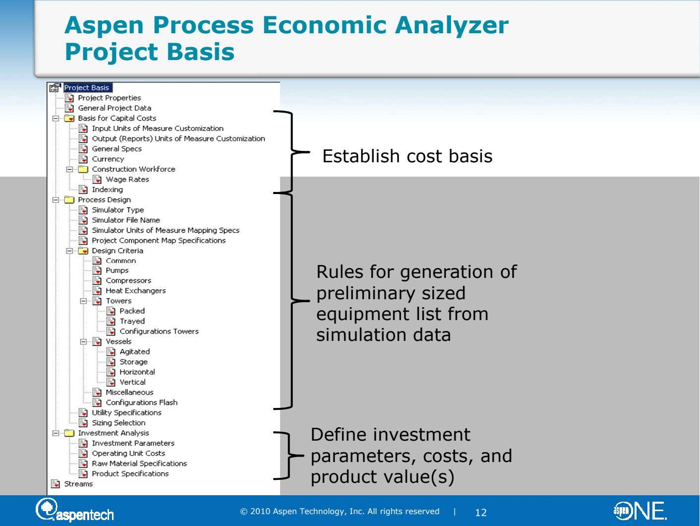 Aspen Process Economic Analyzer Project Basis Establish cost basis Rules for generation of preliminary sized equipment