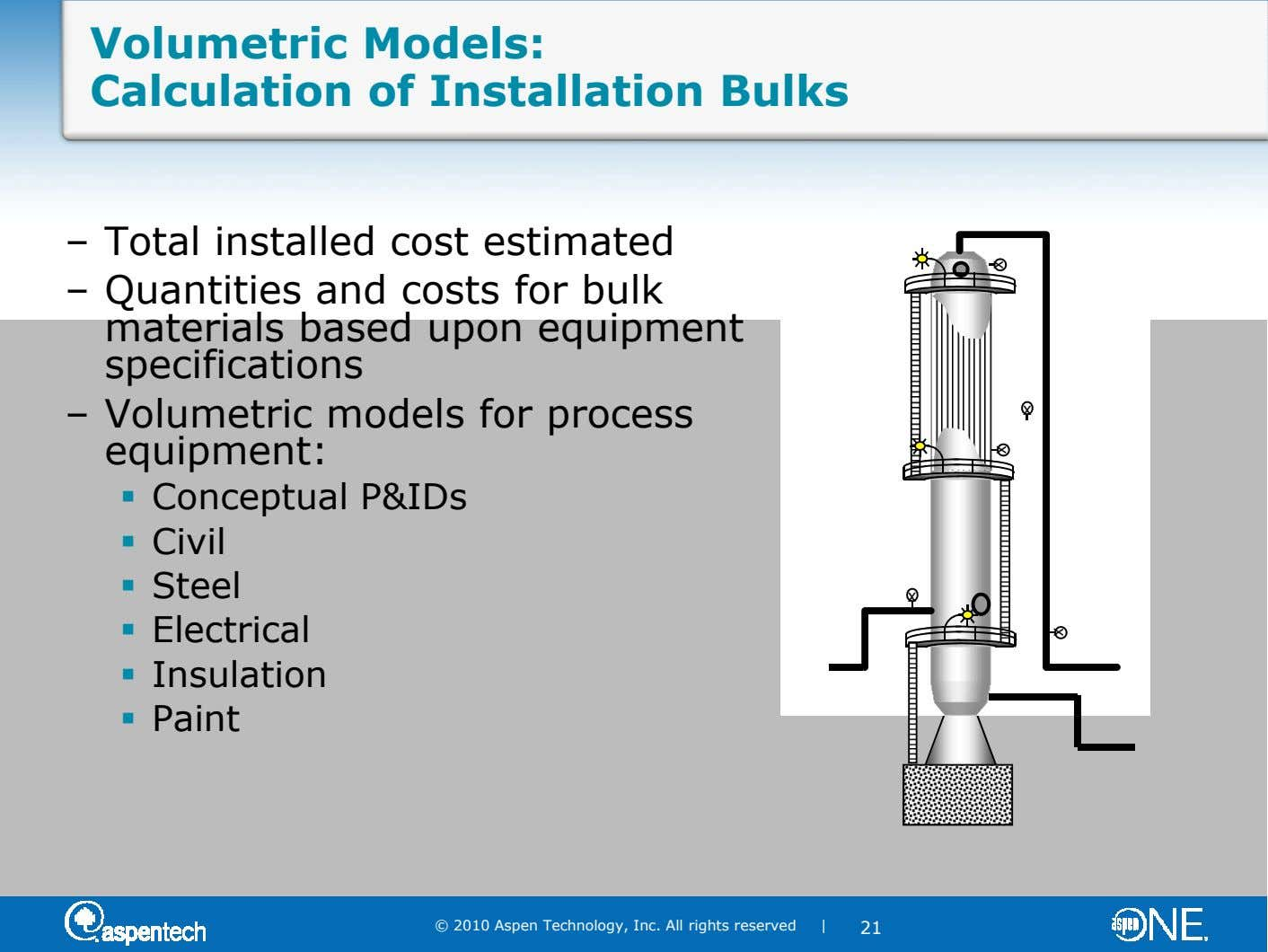 x x x Volumetric Models: Calculation of Installation Bulks – Total installed cost estimated – Quantities