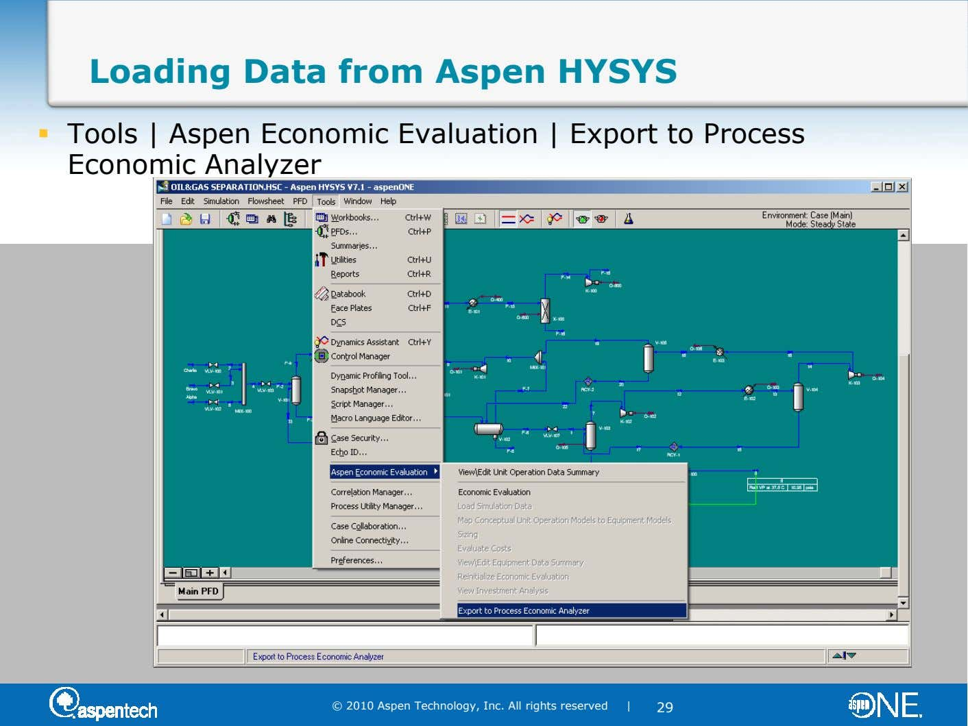 Loading Data from Aspen HYSYS Tools | Aspen Economic Evaluation | Export to Process Economic Analyzer