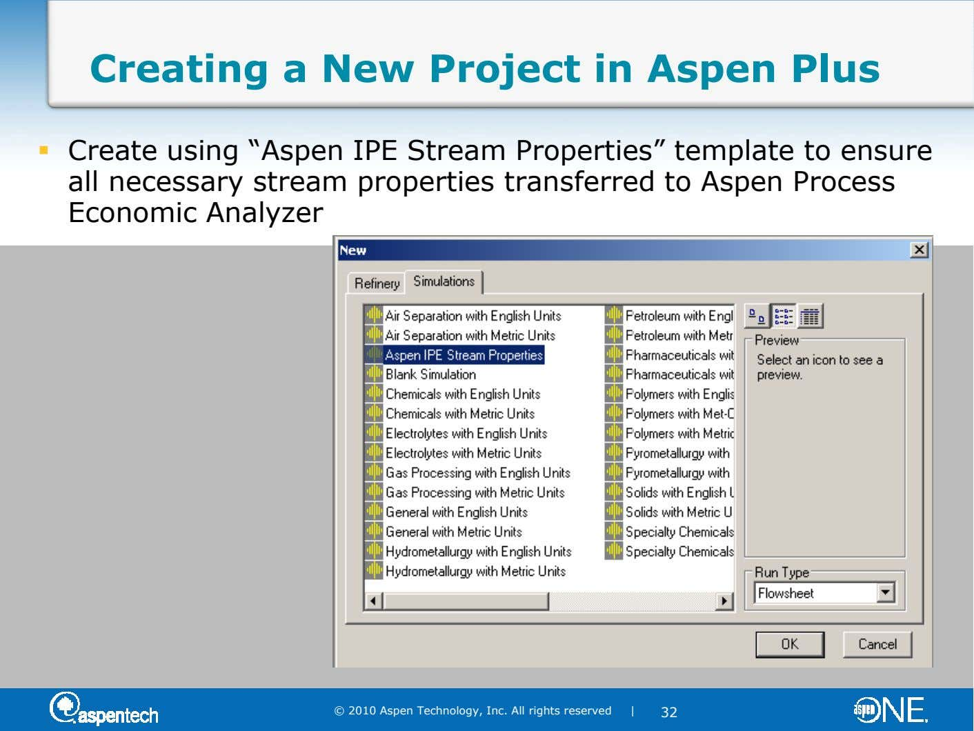 "Creating a New Project in Aspen Plus Create using ""Aspen IPE Stream Properties"" template to ensure"