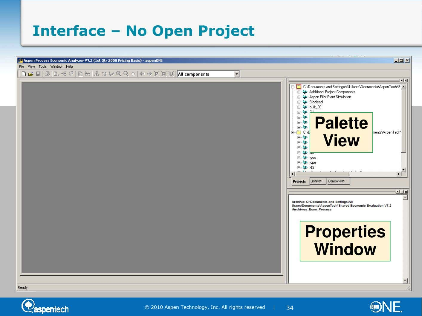 Interface – No Open Project Palette View Properties Window © 2010 Aspen Technology, Inc. All rights