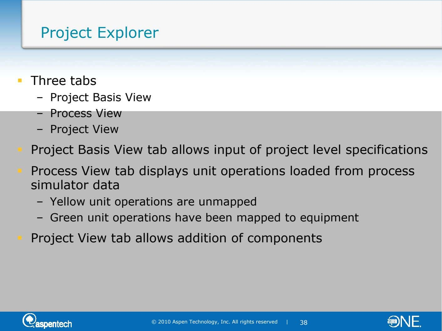 Project Explorer Three tabs – Project Basis View – Process View – Project View Project Basis