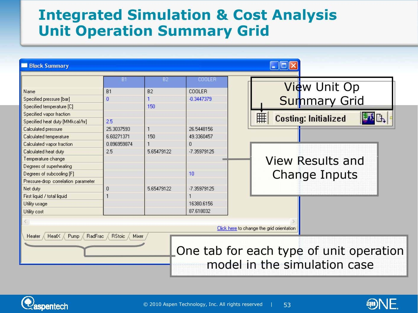 Integrated Simulation & Cost Analysis Unit Operation Summary Grid View Unit Op Summary Grid View Results