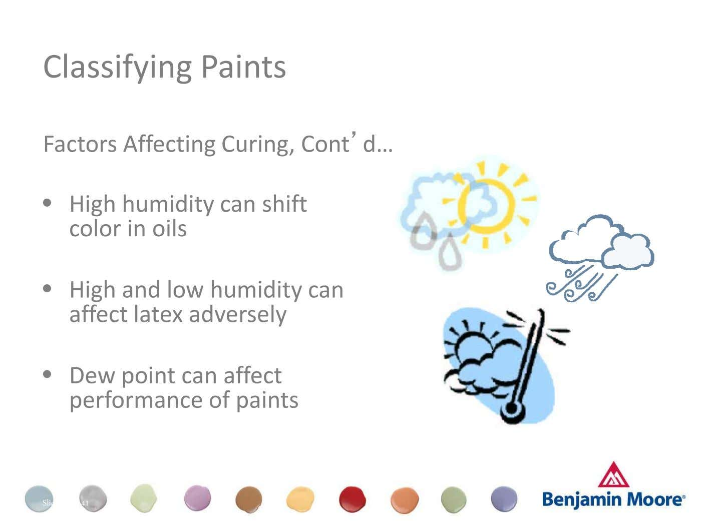 Classifying Paints Factors Affecting Curing, Cont'd… • High humidity can shift color in oils • High