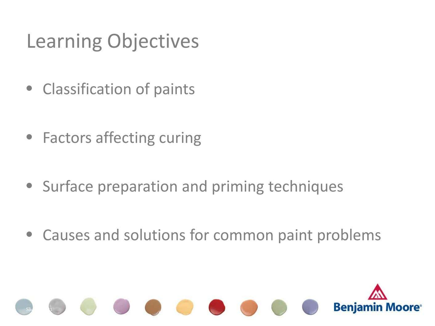 Learning Objectives • • • • Classification of paints Factors affecting curing Surface preparation and priming