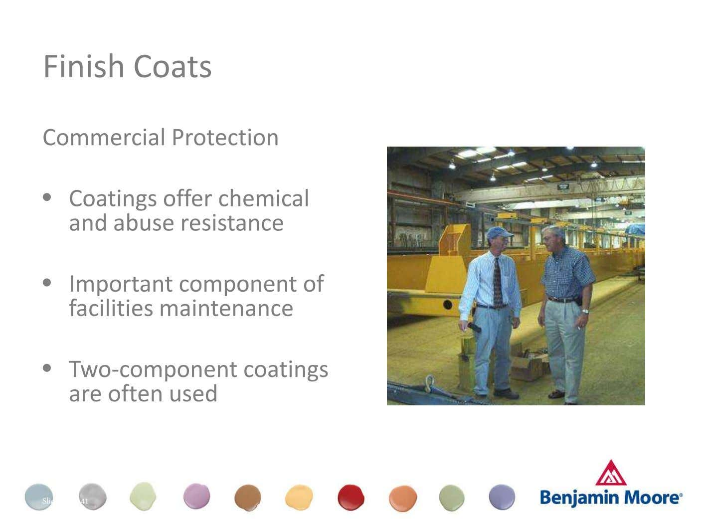 Finish Coats Commercial Protection • Coatings offer chemical and abuse resistance Dull (Appearance) • Important component