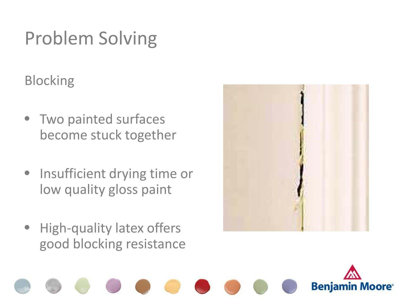 Problem Solving Blocking • Two painted surfaces become stuck together Dull (Appearance) • Insufficient drying time
