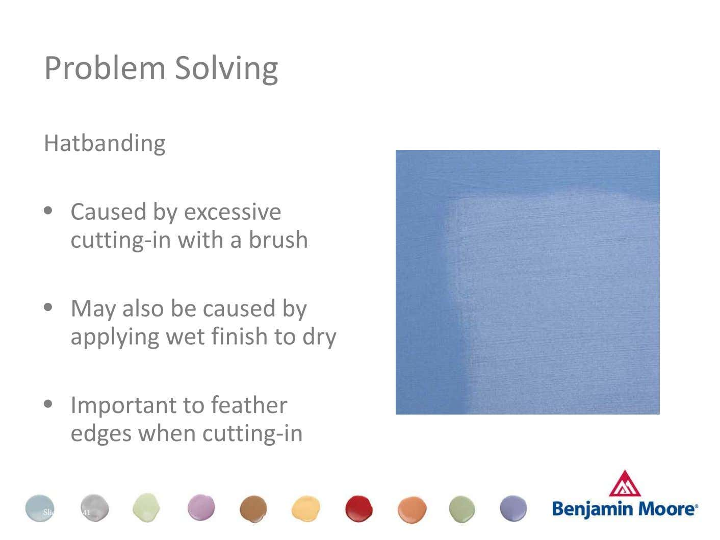Problem Solving Hatbanding • Caused by excessive cutting-in with a brush Dull (Appearance) • May also