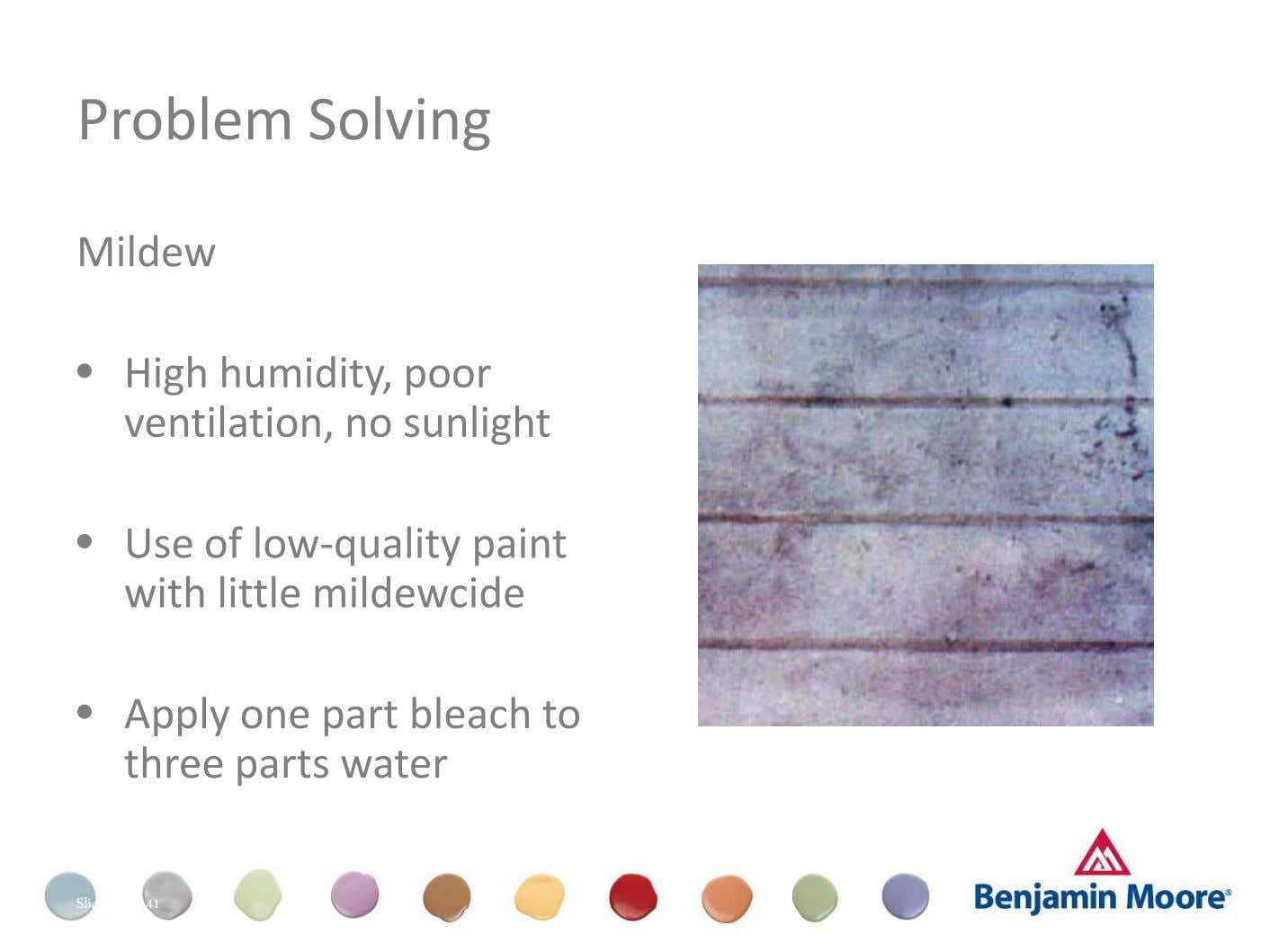 Problem Solving Mildew • High humidity, poor ventilation, no sunlight Dull (Appearance) • Use of low-quality