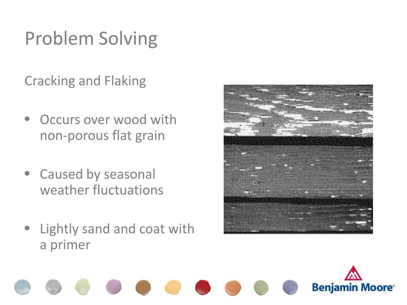 Problem Solving Cracking and Flaking • Occurs over wood with non-porous flat grain Dull (Appearance) •