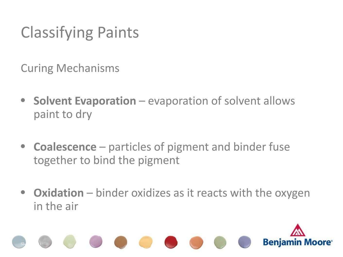 Classifying Paints Curing Mechanisms • Solvent Evaporation – evaporation of solvent allows paint to dry •