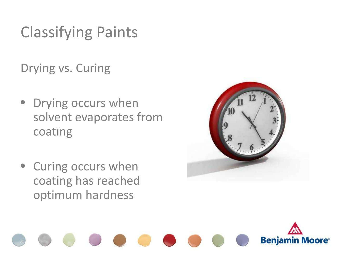 Classifying Paints Drying vs. Curing • Drying occurs when solvent evaporates from coating • Curing occurs