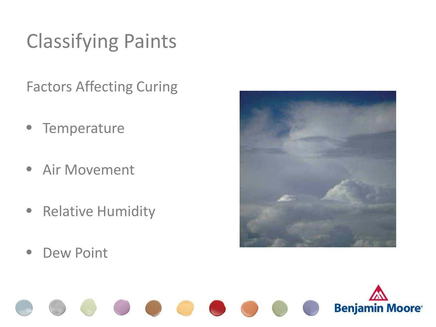 Classifying Paints Factors Affecting Curing • Temperature • Air Movement • Relative Humidity • Dew Point