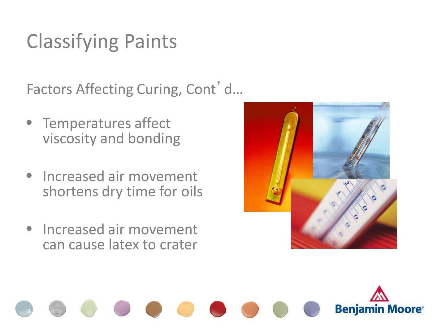 Classifying Paints Factors Affecting Curing, Cont'd… • Temperatures affect viscosity and bonding • Increased air movement