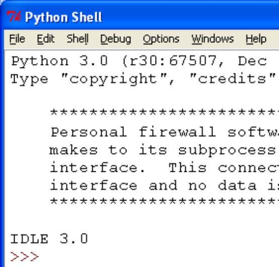 1.3. WHIRLWIND INTRODUCTION TO TYPES AND FUNCTIONS 11 Look at the Python In the Shell the
