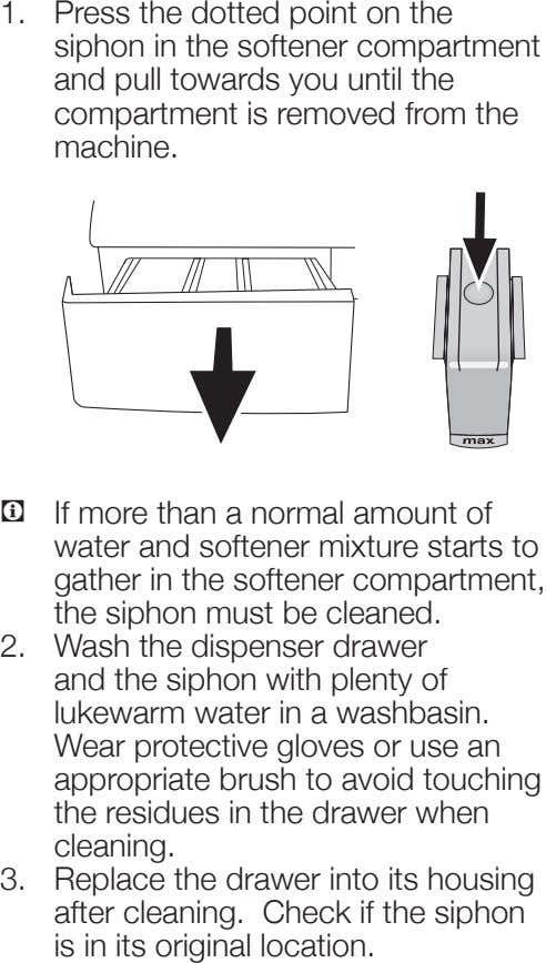 1. Press the dotted point on the siphon in the softener compartment and pull towards
