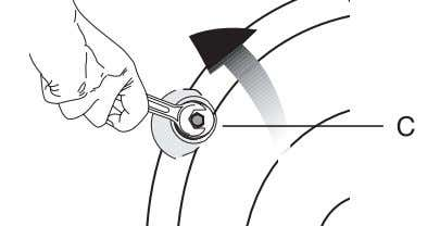 "the bolts with a spanner until they rotate freely (""C"") 2. Remove transportation safety bolts by"
