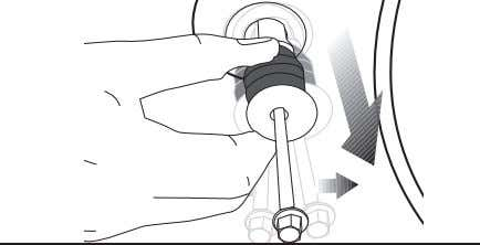 Remove transportation safety bolts by turning them gently. 3. Fit the covers (supplied in the bag