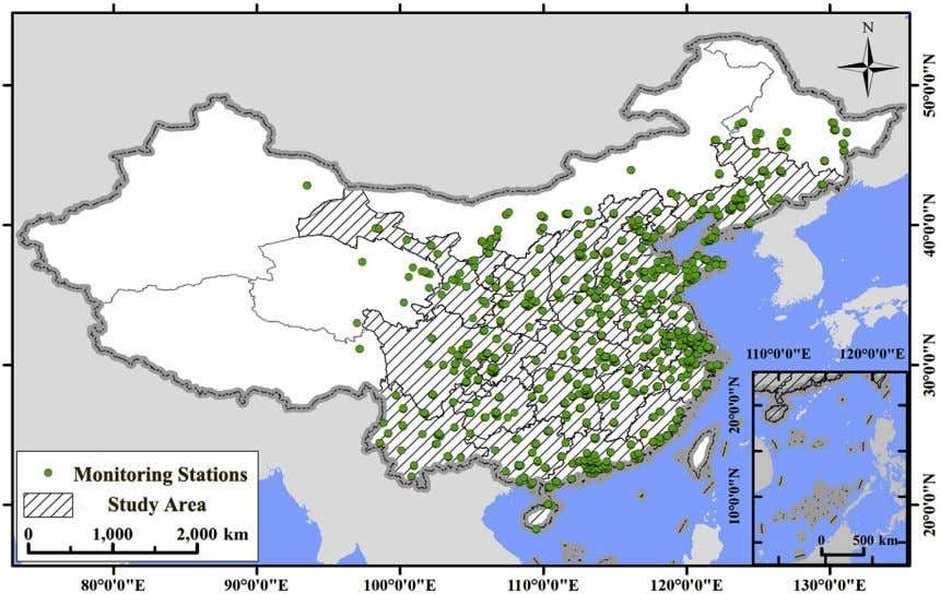 in urban areas (rural areas have little coverage in China). Fig. 1. Study area. The green