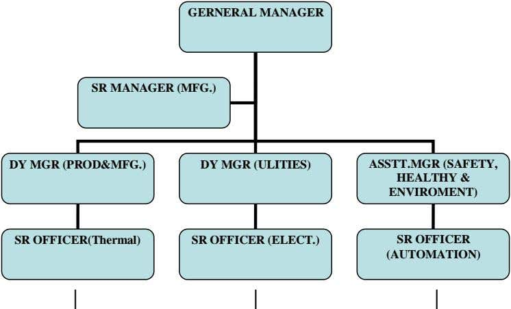 GERNERAL MANAGER SR MANAGER (MFG.) DY MGR (PROD&MFG.) DY MGR (ULITIES) ASSTT.MGR (SAFETY, HEALTHY &