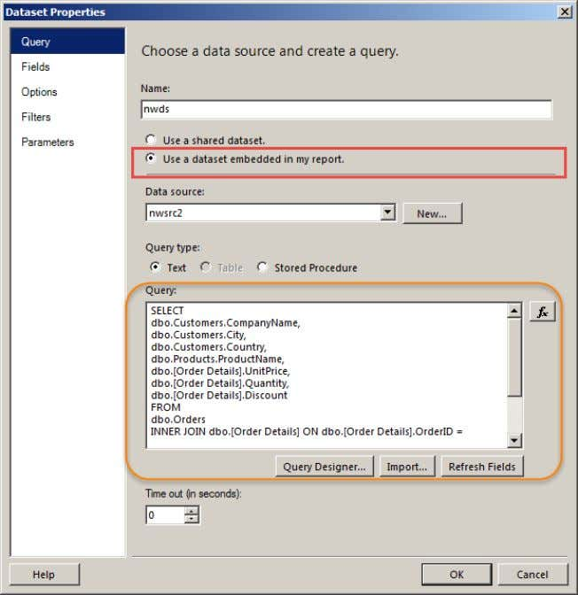 ON dbo.[Order Details].ProductID = dbo.Products.ProductID Les champs définis sont comme suit SQL SERVER 2012