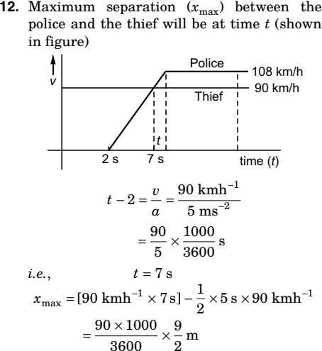 12. Maximum separation (x max ) between the police and the thief will be at