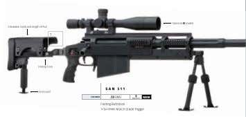 optics Not included adjustable comb and Length-of-Pull 1 Folding stock San 511 mono-pod caliber .50